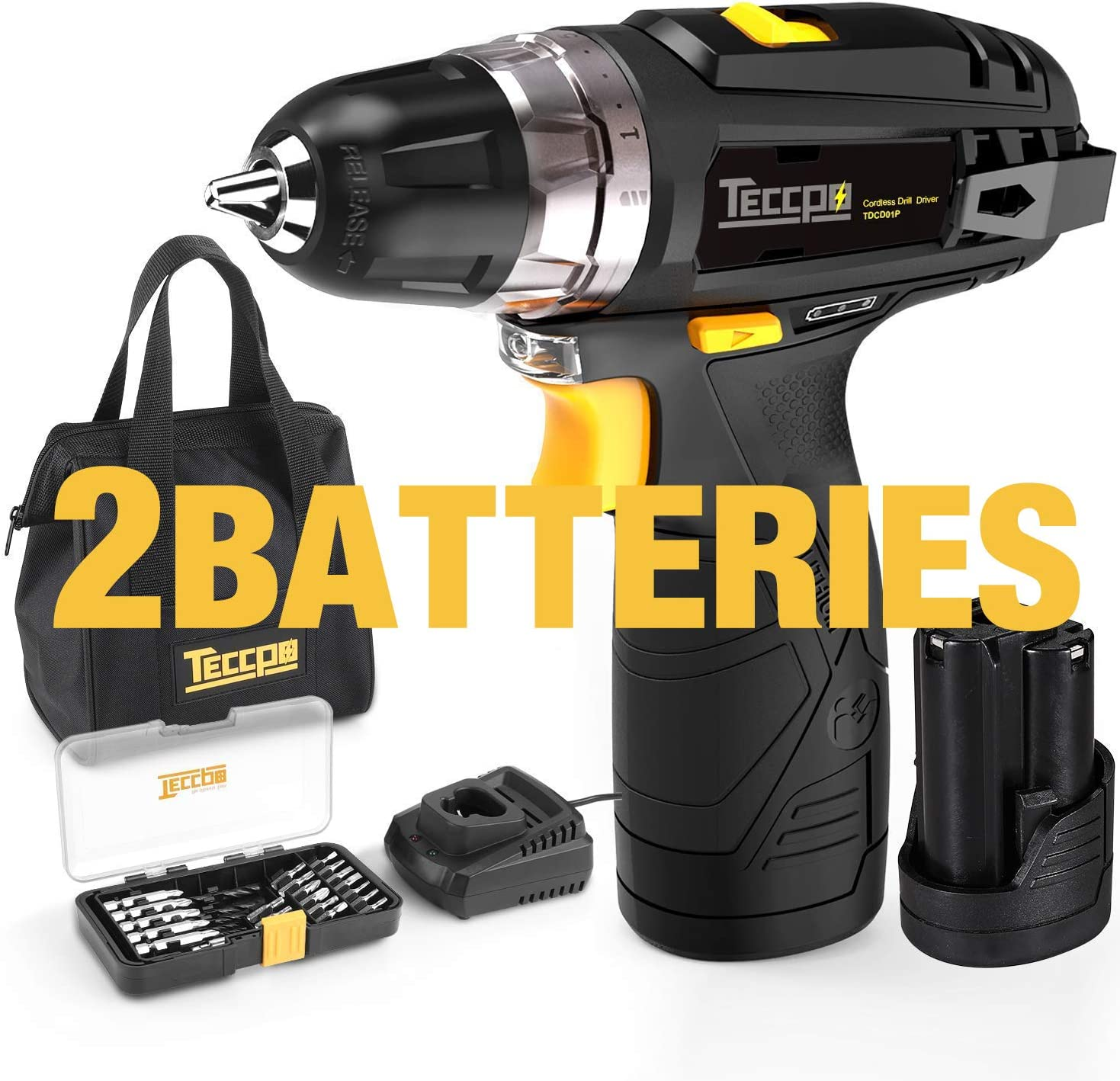 Cordless Drill, TECCPO 12V MAX Drill, Compact Drill set with 2Pcs 2000mAh Batteries, 2-Speed, 20 1 Torque Setting, Fast Charger, 265In-lbs Torque, 3 8 Chuck, 29pcs Accessories – TDCD01P