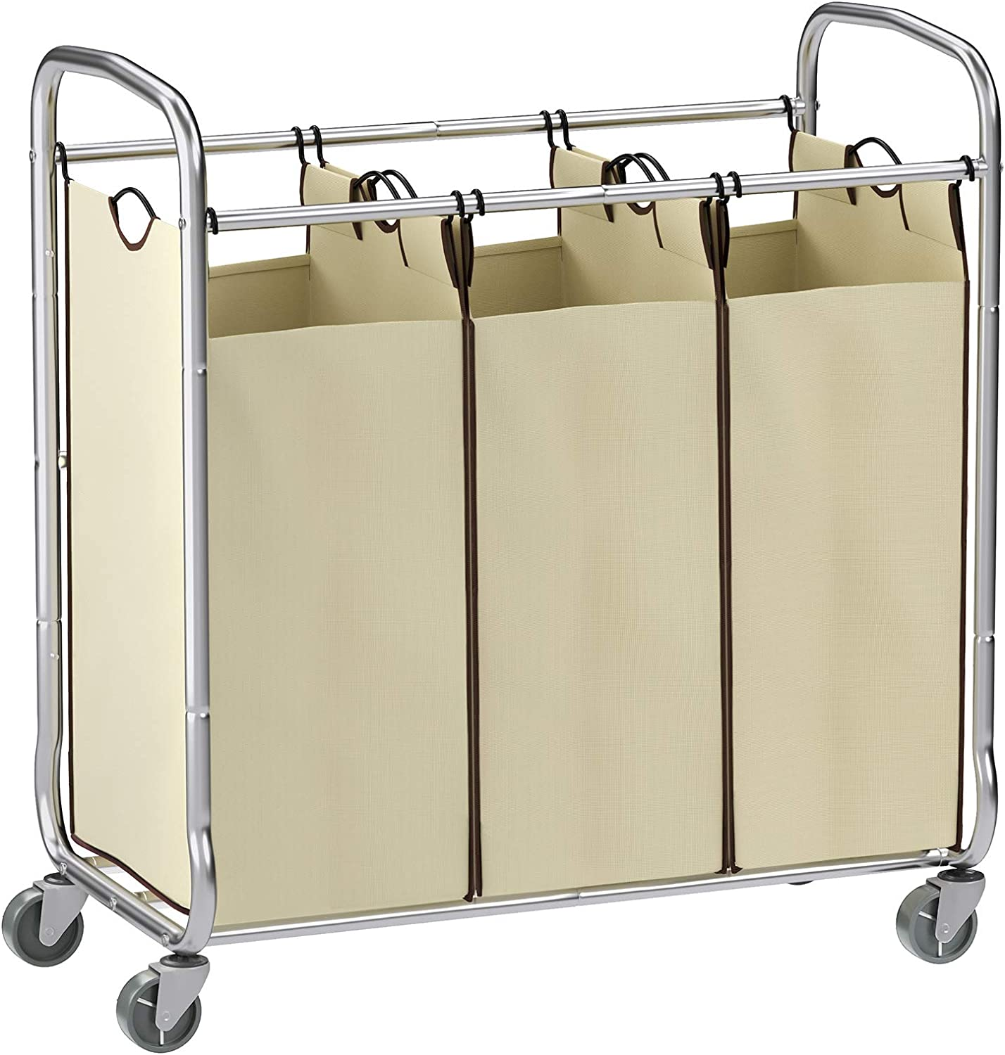 SONGMICS URLS72MZ 3-Bag Laundry Sorter Cart on Wheels, Three, Beige