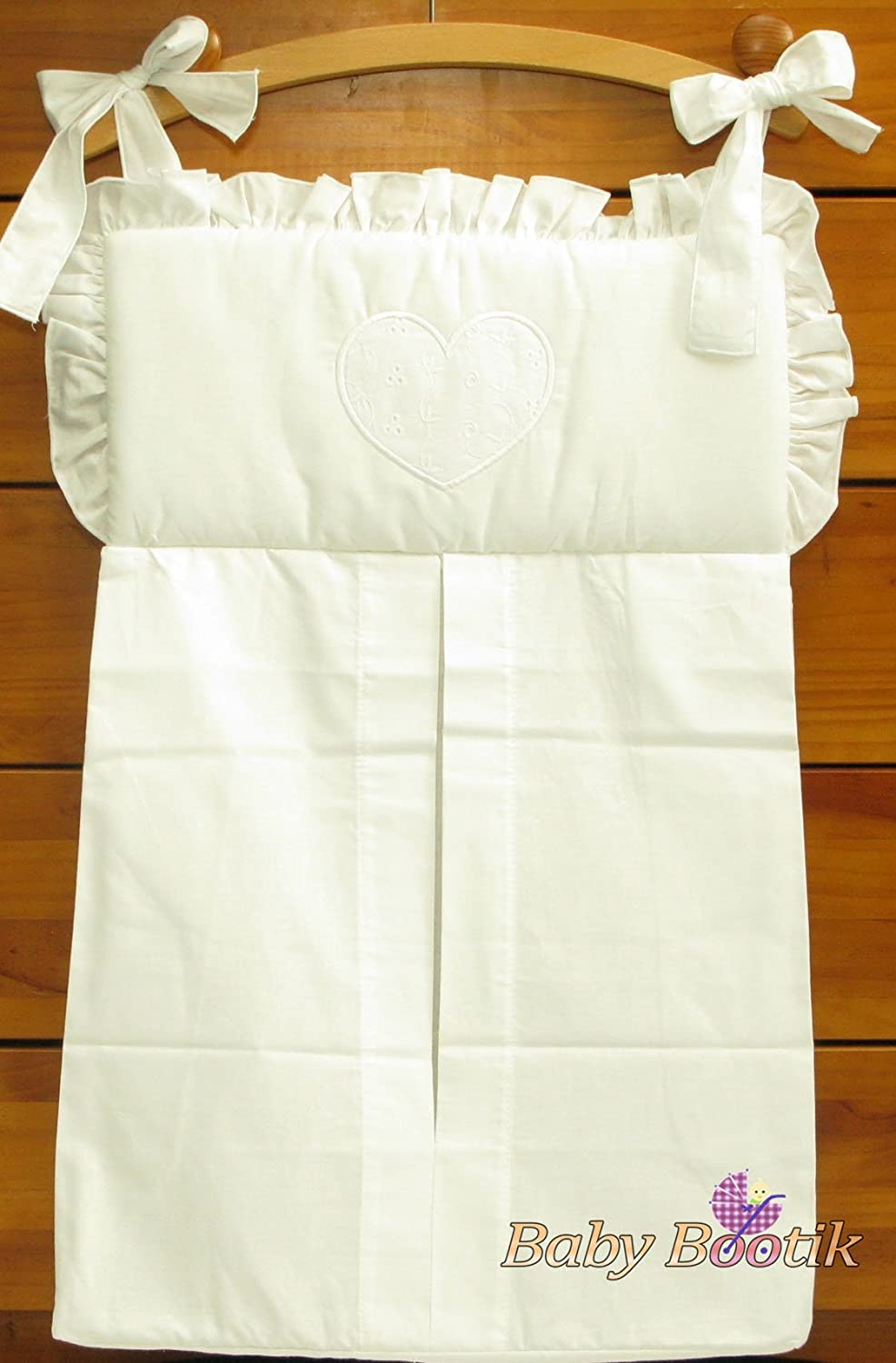 NAPPY STACKER/DIAPER BAG MATCH BABY NURSERY COT/COT BED BEDDING - HEARTS WHITE Babycomfort