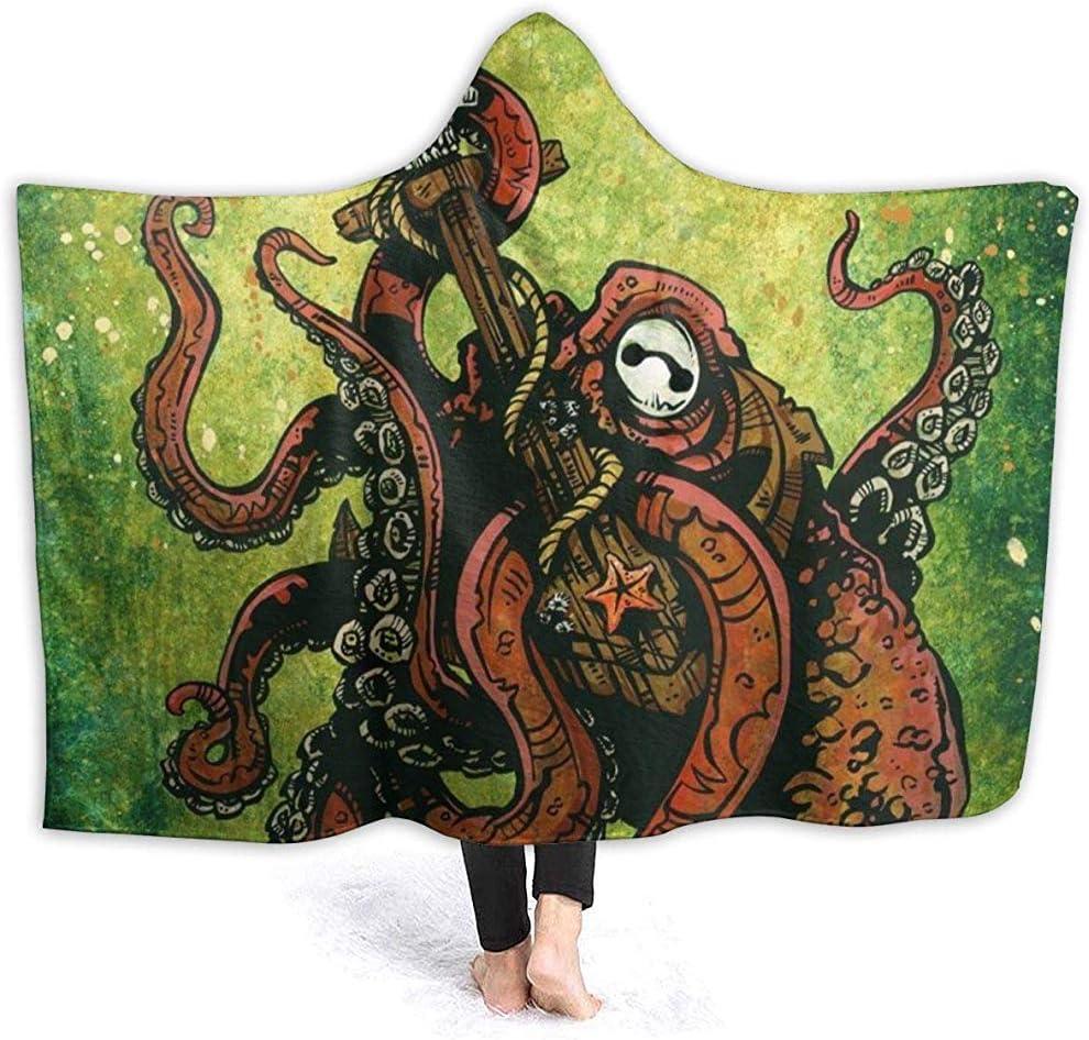 Searster$ Hooded Blanket Testa di teschio di Zucchero Sulla Croce con Cappuccio coperta Stampa 3D Super morbida coperta Sherpa per adulti coperta in Pile per adulti, 127X102 cm