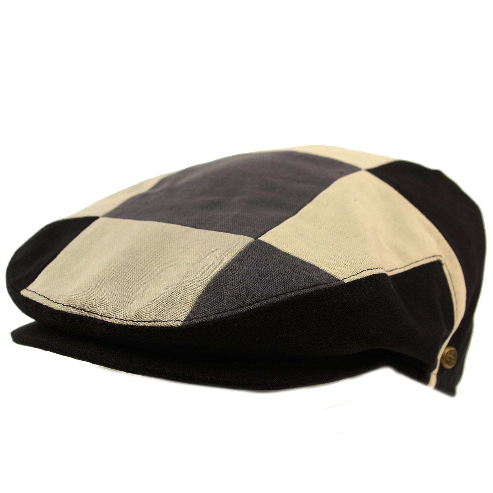 Men's Cotton 14 Panel Ivy Checkerboard Plaid Driver Cabby Flat Cap Hat Medium Black