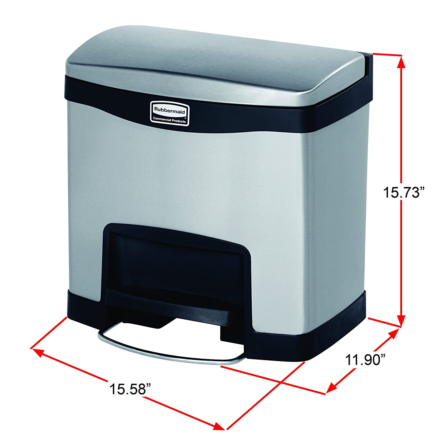 Amazon.com: Rubbermaid Commercial Slim Jim Stainless Steel Front ...