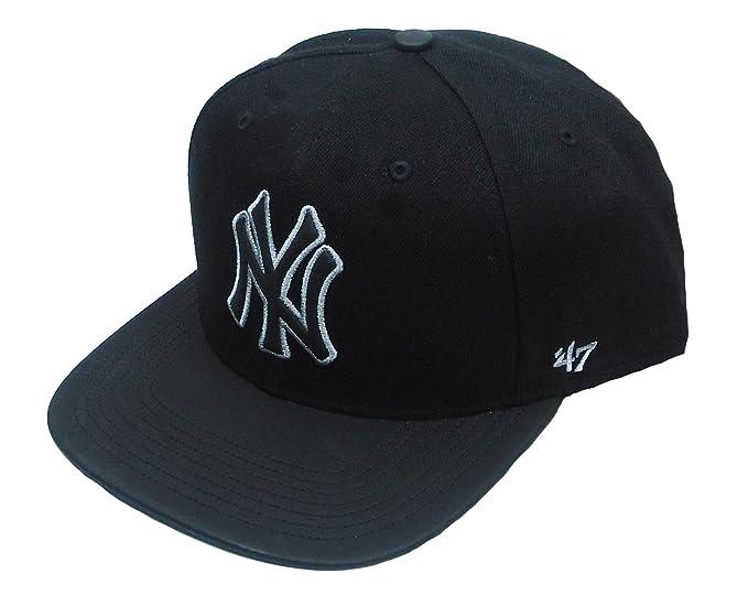 Gorra plana negra snapback lisa de MLB New York Yankees de 47 Brand - Negro,