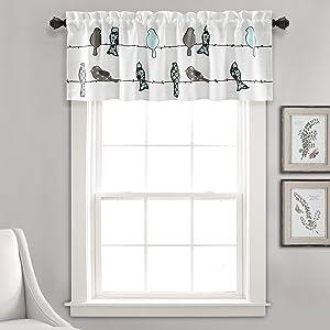 "Lush Decor Rowley Birds Curtain Valance (Single Panel), 18"" x 52"", Blue and Gray, L, Blue & Gray"
