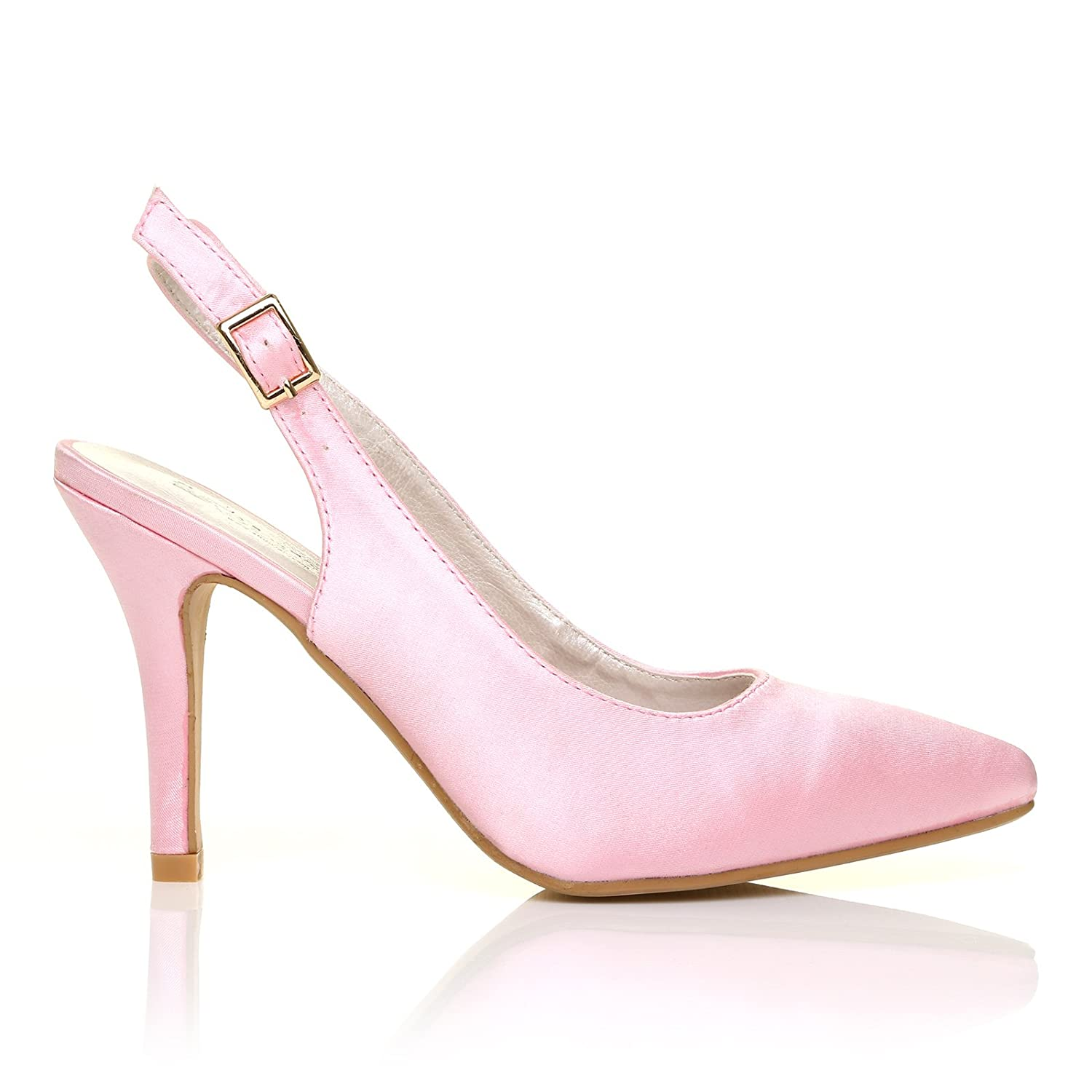 NEW YORK Baby Pink Satin Ankle Strap Pointed High Heel Bridal ...