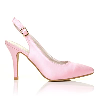 89f866d302 FAITH Baby Pink Satin Stiletto High Heel Slingback Bridal Court Shoes   Amazon.co.uk  Shoes   Bags