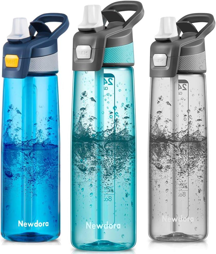Newdora Botella de Agua para Niños, 750ml Botella a prueba de Fugas, Botella Agua con Pajitas, Dibujos de Pájaros Voladores, Verde