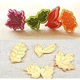 ElecMotive 4 teiliges Blätter Cookie Cutters Plätzchenformen Backformen Fondant Keks Ausstechformen Set mit Auswerfer Farbe zufällig gesendet (A)