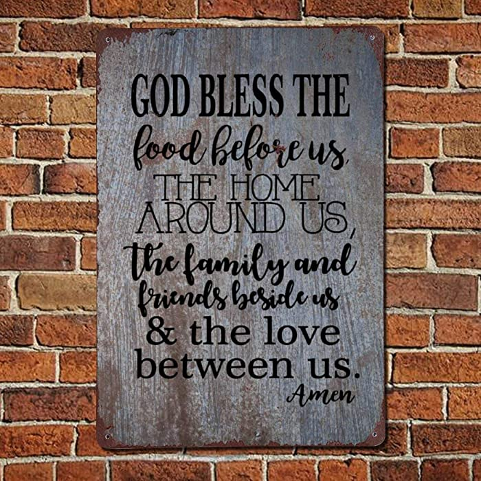 43LenaJon God Bless The Food Before Us Vintage Quotes Metal Sign,Retro Saying Words Sign,Rustic Quote Saying Words Bar Men Cave Garden Wall Art,Farmhouse Aluminum Sign,Home Decor