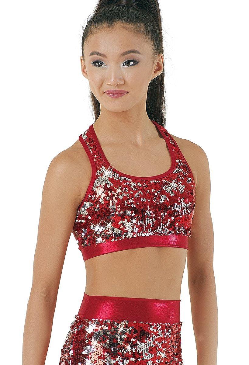 958a287a750f0 Amazon.com  Balera Bra Top Girls Racerback for Dance Reversible Sequin and Metallic  Sports Bra  Clothing