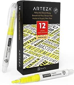 Arteza Subrayadores amarillos finos, juego de 12, punta de cincel, paquete a granel de marcadores resaltadores portátiles con forma de boli para subrayar en agendas, listas de tareas, notas o libros: Amazon.es: