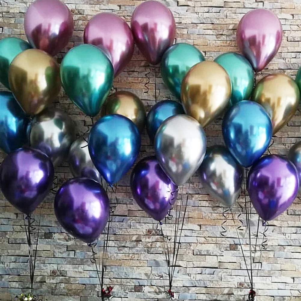 plateado y verde para cumplea/ños 50 Piezas globos brillantes de 12 Globos de colores de l/átex para fiestas en globos de oro rojo morado Gxhong Globos met/álicos azul decoraciones de fiestas