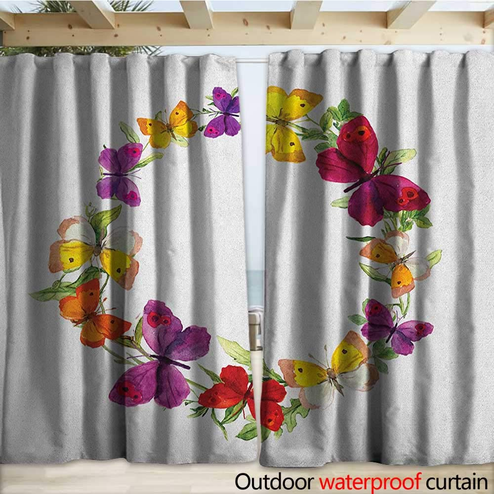 warmfamily Butterfly Porch Curtains Butterfly Corolla with Herbs Nature Protection from Fear Spirit Morph Path Image W108 x L108 Multicolor