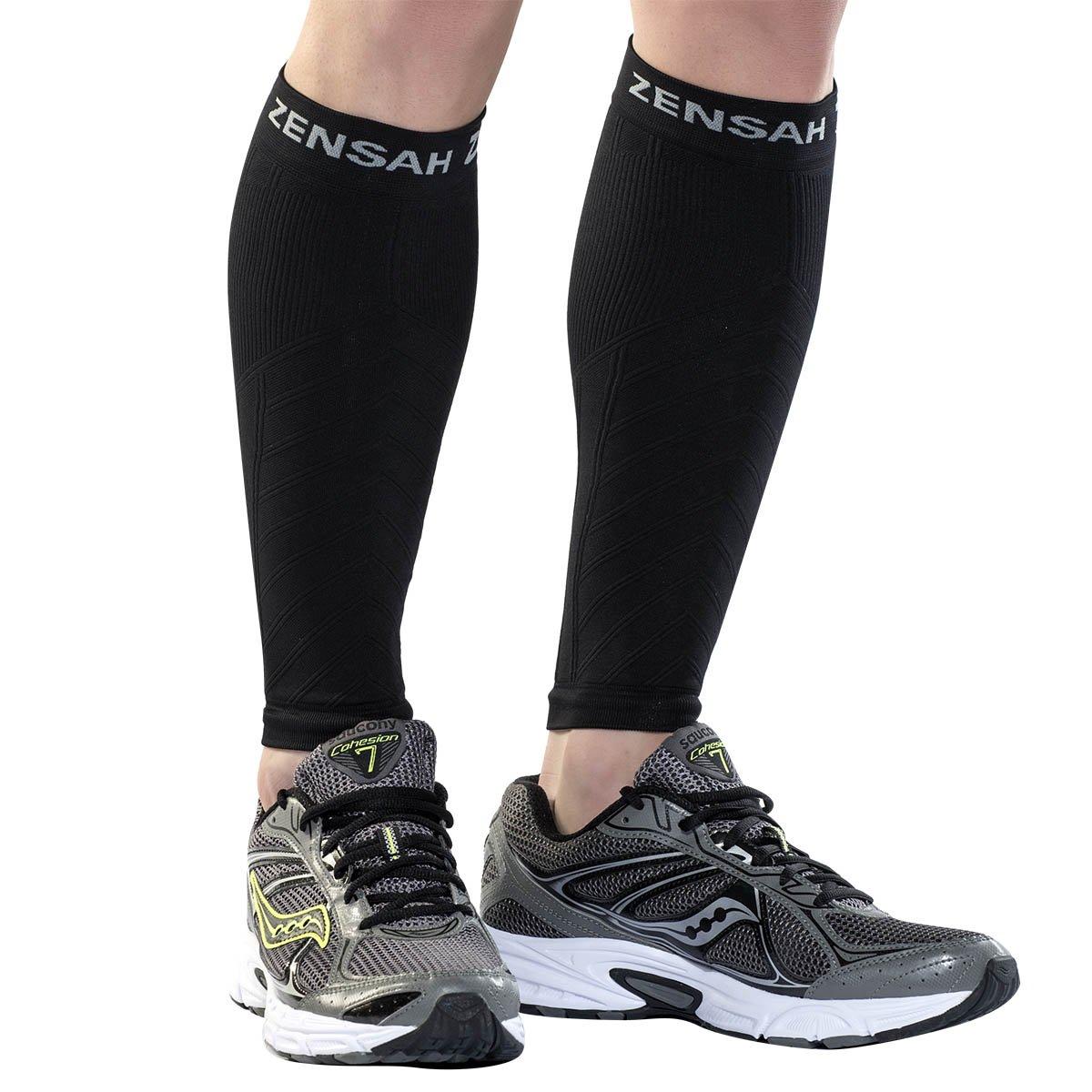 Zensah  Compression Leg Sleeves, Black, Large/X-Large by Zensah