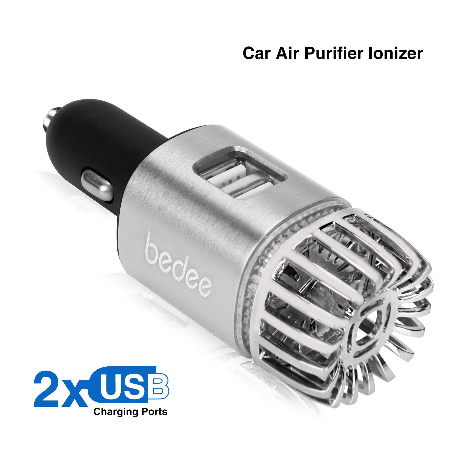 Car Air Purifier Air Freshener 2-in-1 Ionic Air Purifier Ionizer Deodorizer with Dual USB Cellphone Charger Remove Dust, Pollen, Smoke, Mold,Food & Pet Smell, Bacteria,Odors, Portable Travel Charger