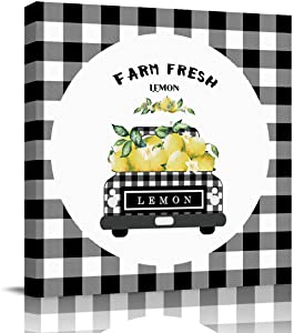 Canvas Wall Art for Living Room,Bathroom,Bedroom,Black Grey Buffalo Plaid Farm Truck Carry Fresh Lemons Rustic,Farmhouse Style Wall Decor,Stretched and Framed Painting Poster Ready to Hang,12'' x 12''