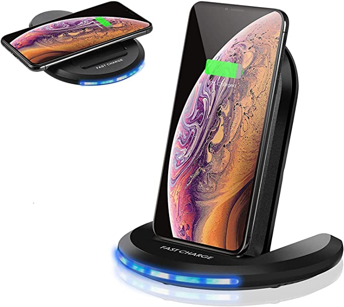 ELEGIANT Wireless Charger 10W Qi-Certified Wireless Charging Stand 0 to 90 Degrees Adjustable Fast Charging Galaxy S10 Plus S10E S9,Compatible with iPhone 11 11 Pro XS MAX XR XS X 8 8 Plus