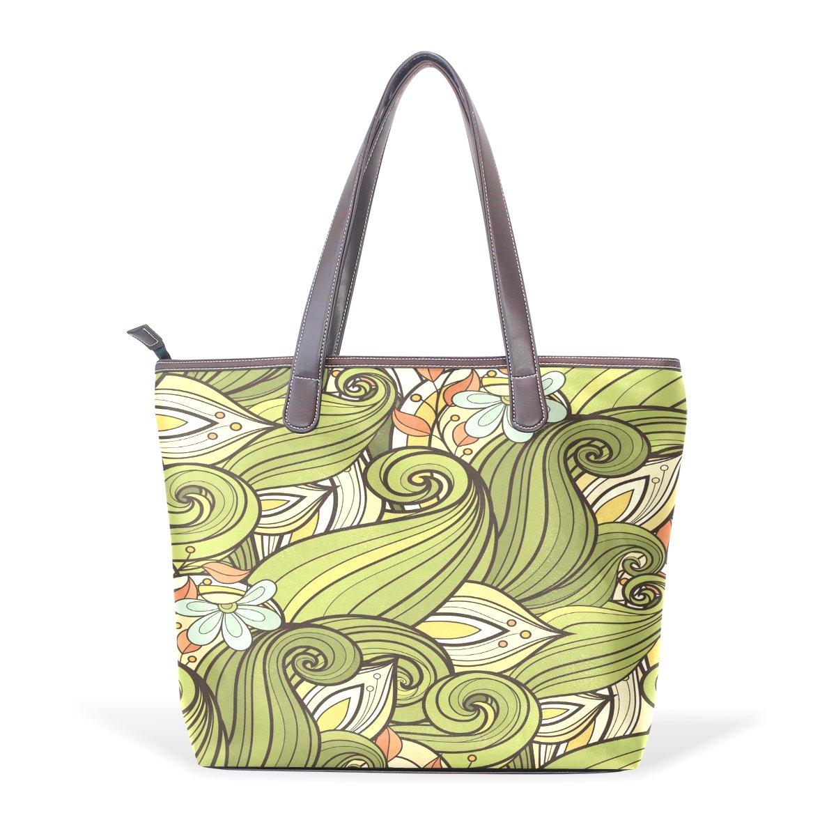 Mr.Weng Household Abstract Leaves Lady Handbag Tote Bag Zipper Shoulder Bag