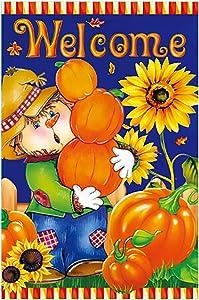 Morigins Harvest Fall Scarecrow House Flag Double Sided Welcome Autumn Pumpkin Garden Yard Decorations, Seasonal Outdoor Flag 28 x 40 Inch