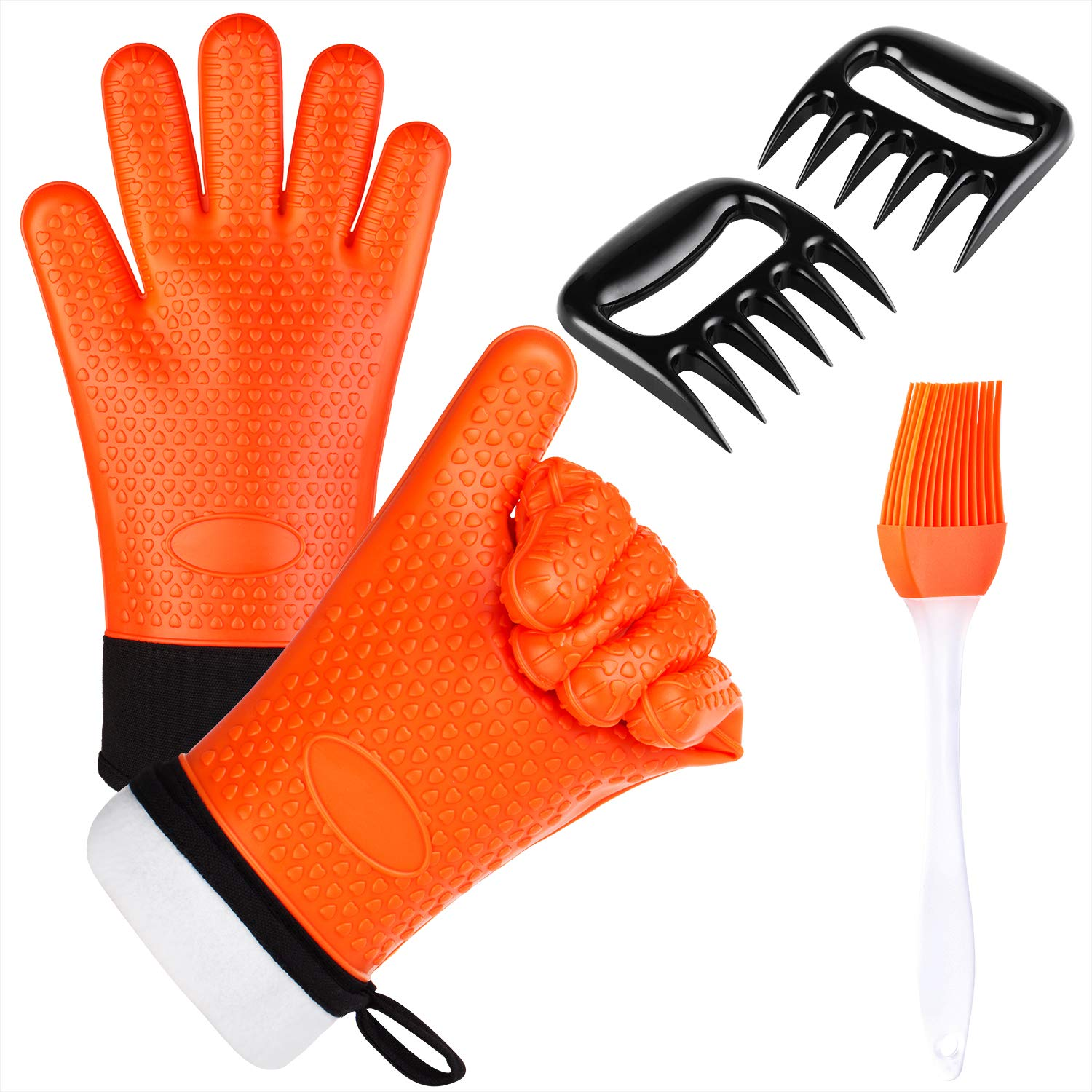BBQ Oven Gloves - Heat Resistant Extra Forearm Protection, Including Shredder Claws and Silicone Basting Brush, Essential Tools Set for Grilling, Cooking and Baking (Orange)