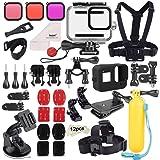 Deyard 52 in 1 Accessories Kit for GoPro Hero 8 Black, Waterproof Case 3 Filters Rubber Case Chest/Head/Wrist Strap Bike/Car Backpack Clip