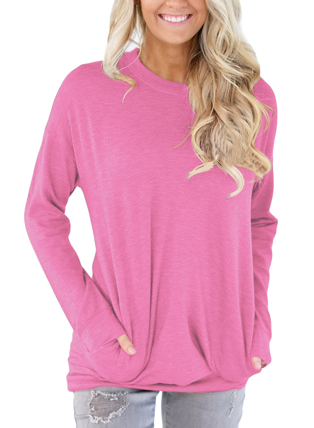 HOTAPEI Women Casual Long Sleeve Round Neck Sweatshirt Loose TShirt Womens Tunics Blouses Tops Pink Medium