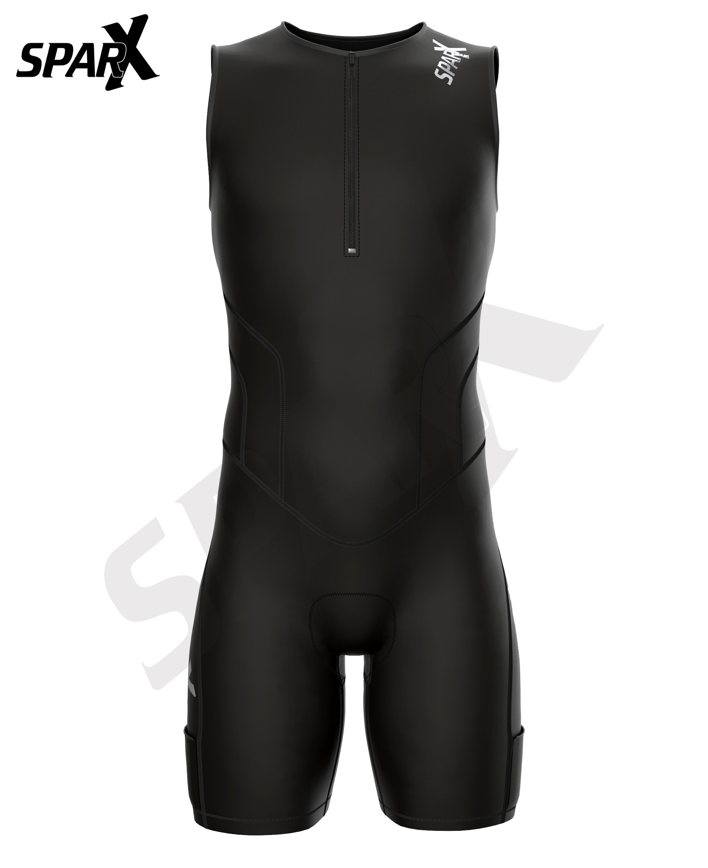 Sparx X Triathlon Suit Racing Tri Cycling Skin Suit Bike Swim Run (Black, Medium) by Sparx Sports (Image #2)