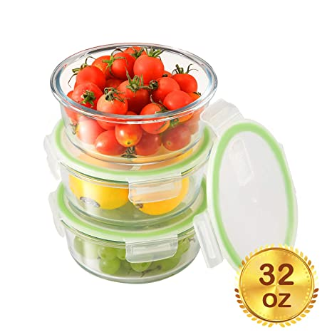 Amazon.com: Recipiente redondo de cristal para comida ...