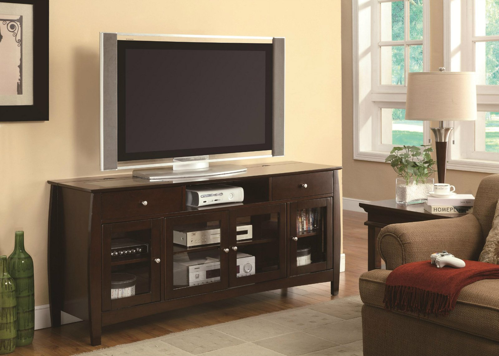 TV Stands CONNECT-IT TV Console in Dark Walnut Finish by R&R