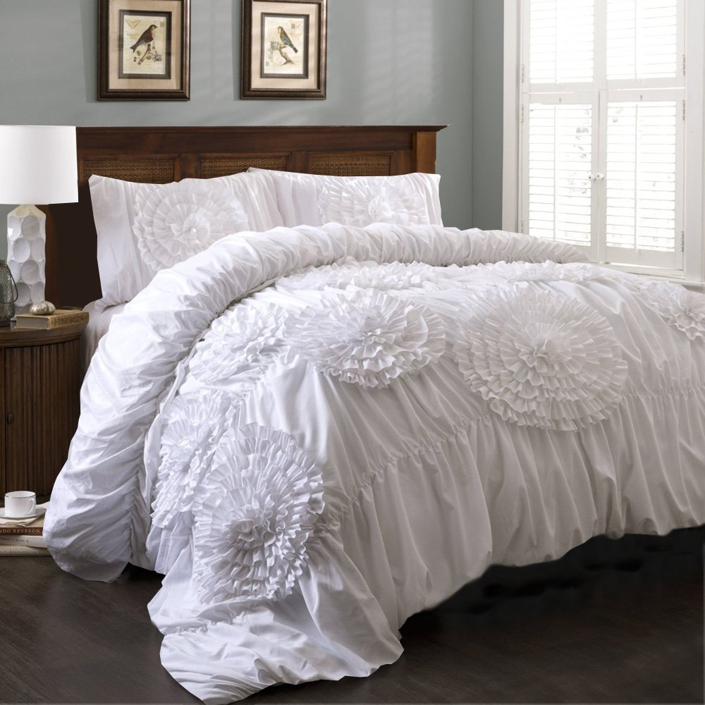 Relaxare Cal King 600TC 100% Egyptian Cotton White Solid 3PCs Flower Ruffle Duvet Set Solid