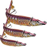 """Sunlure 1PC 8 Segment Swimbait Multi Jointed Fishing Lures Crankbait Artificial Hard Bait 5""""/8""""/12"""" with Treble Hook Fishing Tackle"""