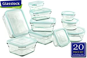 Airtight Anti-Spill Proof Tempered Glasslock Storage Containers 20pc set~Microwave & Oven Safe