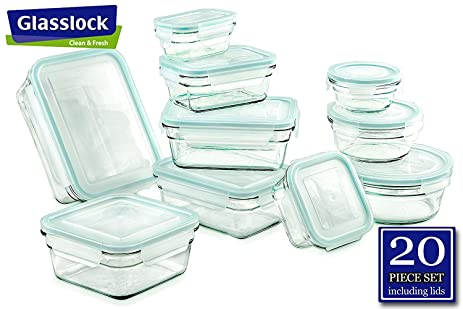 Airtight Anti Spill Proof Tempered Glasslock Storage Containers 20pc  Set~Microwave U0026 Oven Safe