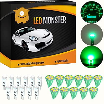 Amazon com: LED Monster 11 x T10 6 SMD Green + 11 x T5 5 SMD Green