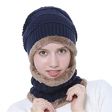 Gray Warm Knitted Hat with Circle Scarf Men//Women Unisex Winter Stretchy Knit Beanie Skull Cap Scarf Set Fleece Inner for Ski Indoors Outdoor Sports Size: One Size
