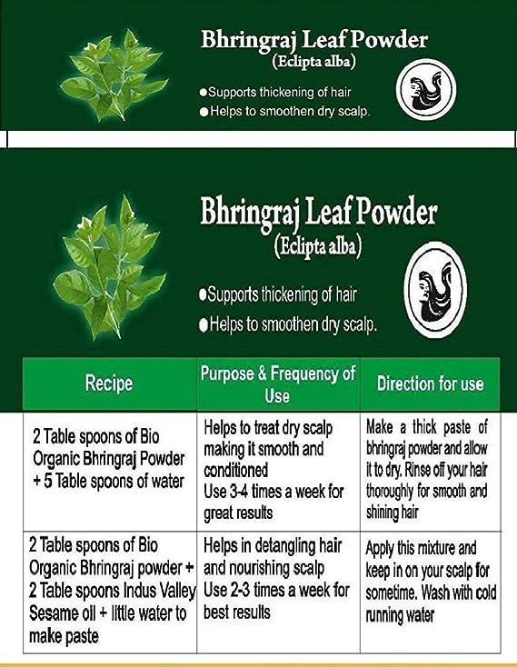 Polvo orgánico puro certificado Bhringraj con libro de recetas gratis de 100 g (Bhringraj Leaf Powder): Amazon.es: Belleza