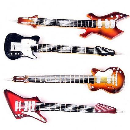 Diseño de guitarra eléctrica de bolígrafo, 4 varios colores. Un Regalo Ideal en caja