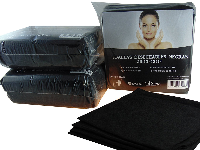 Toallas Desechables Color Negro & Toallas de Peluquería, Toallas de Tela Servilletas de Mano 40x80 cm.- 100% Bio-degradable - Perfectas para Pieles ...