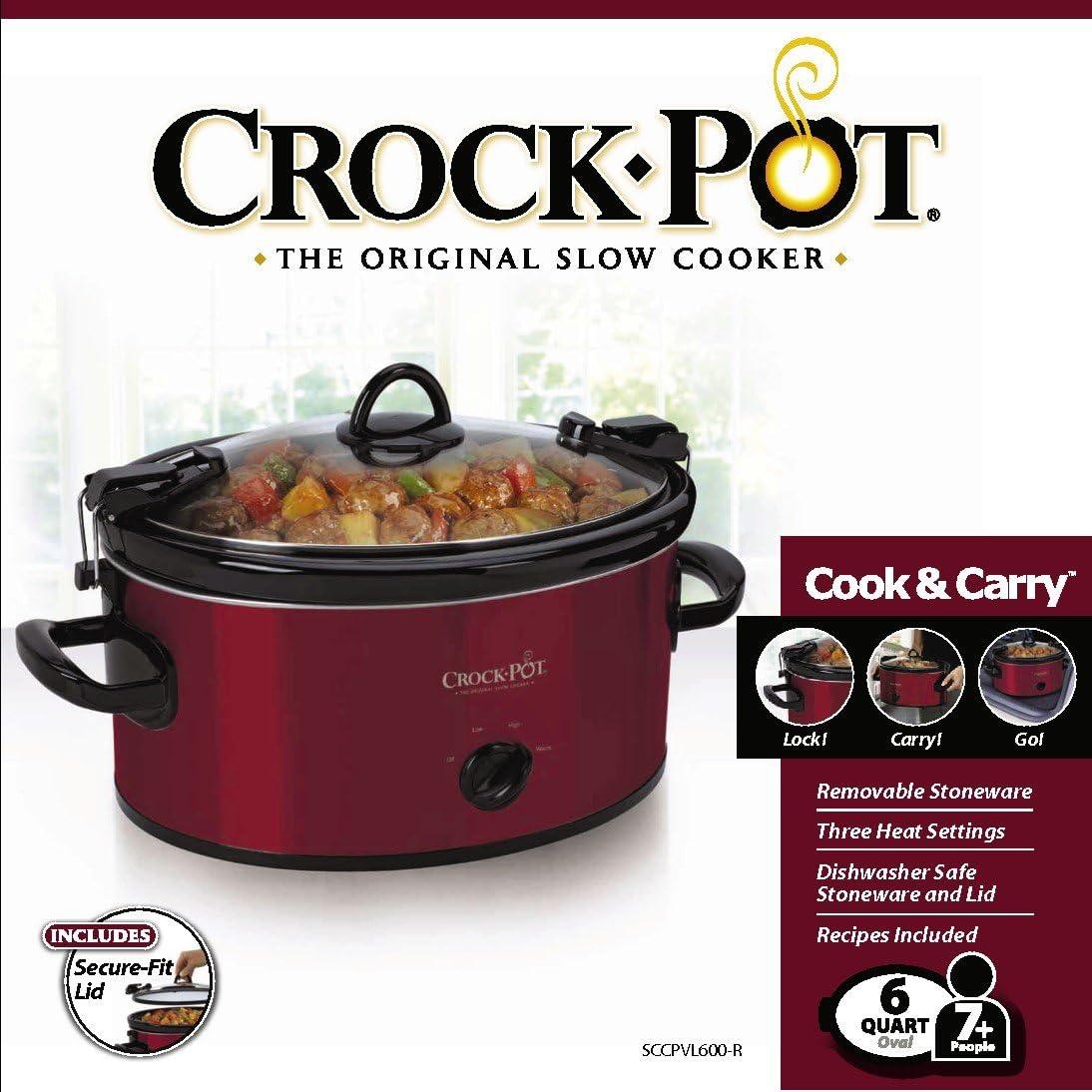 Crock-Pot 6-Quart Cook & Carry Oval Manual Portable Slow Cooker, Red - SCCPVL600-R: Crockpot: Kitchen & Dining