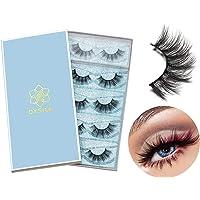 DYSILK 5 Pairs 6D Mink Eyelashes Faux Cross Fluffy Natural Look False Eyelashes Wispies Long Extension Eyelashes Pack…