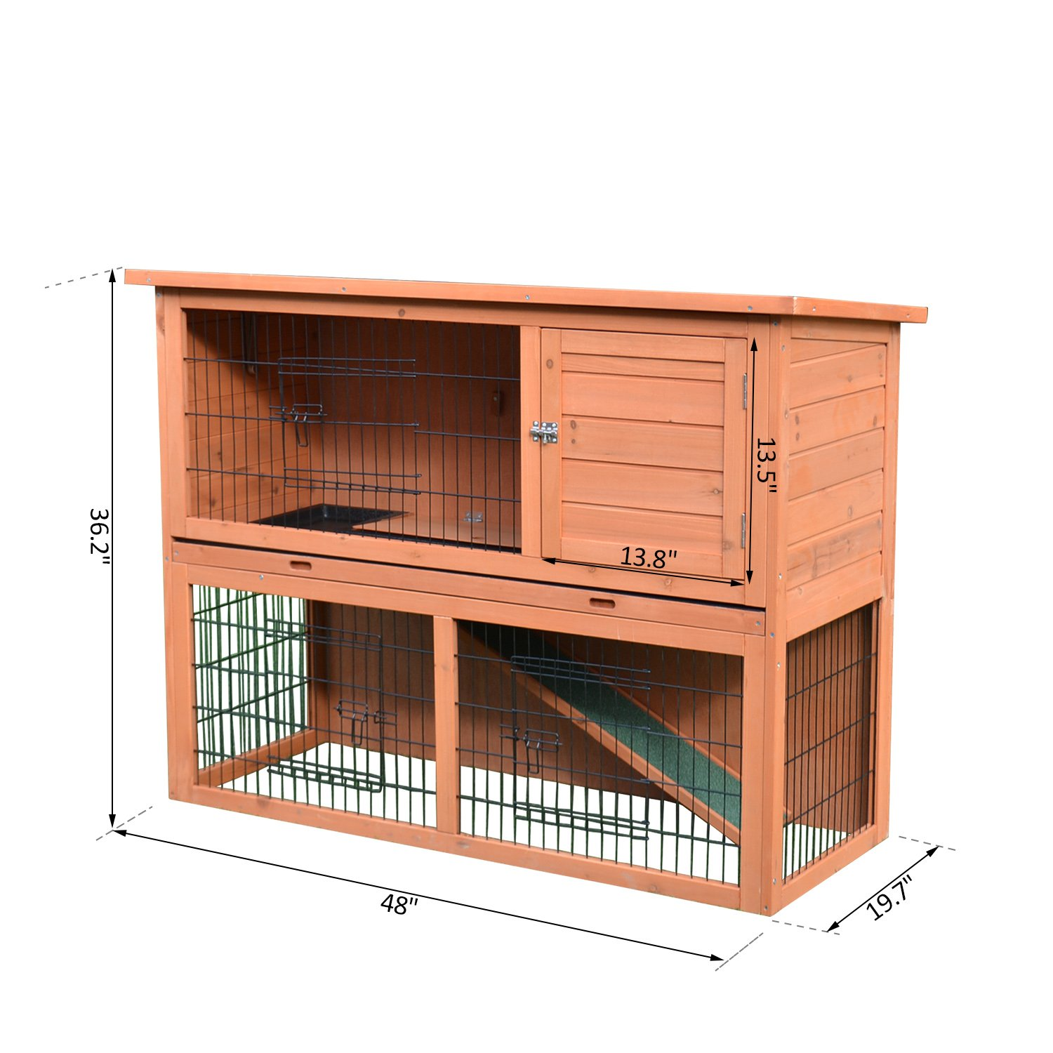 PawHut 48'' Multi Level Compact Wooden Playpen Outdoor Rabbit Small Animal Pet Cage With Enclosed Run by PawHut (Image #7)