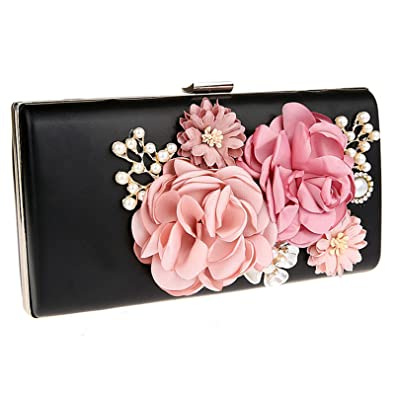 9f3981b78ec2 Womens Floral Evening Bags and Clutches Beaded Pearls Prom Party Handbags  Purse Black