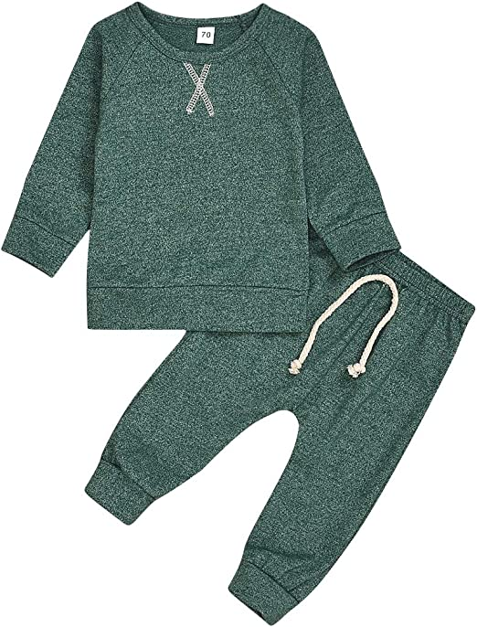 US STOCK Infants Baby Boy Long Sleeve Romper Top Pants Set Autumn Winter Clothes