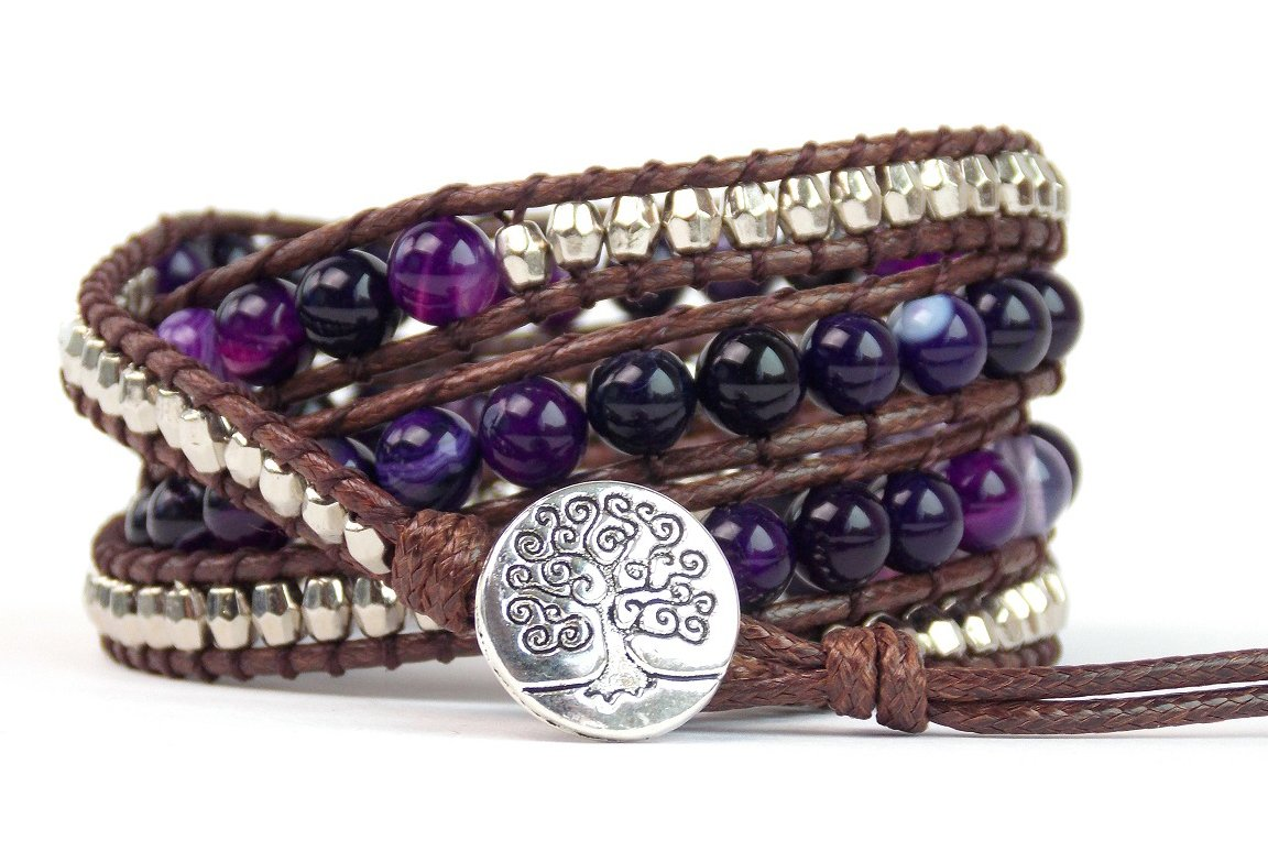 Tree of Life Bracelet Purple Agate Beaded Wrap