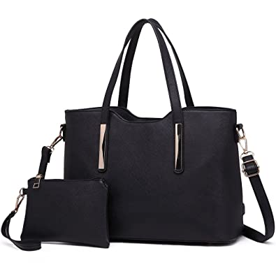 Miss Lulu 2pcs Fashion Casual Totes Handbag Purse Set Vibrant Saffiano PU Leather  Bags for Women 90fc9c8d3b854