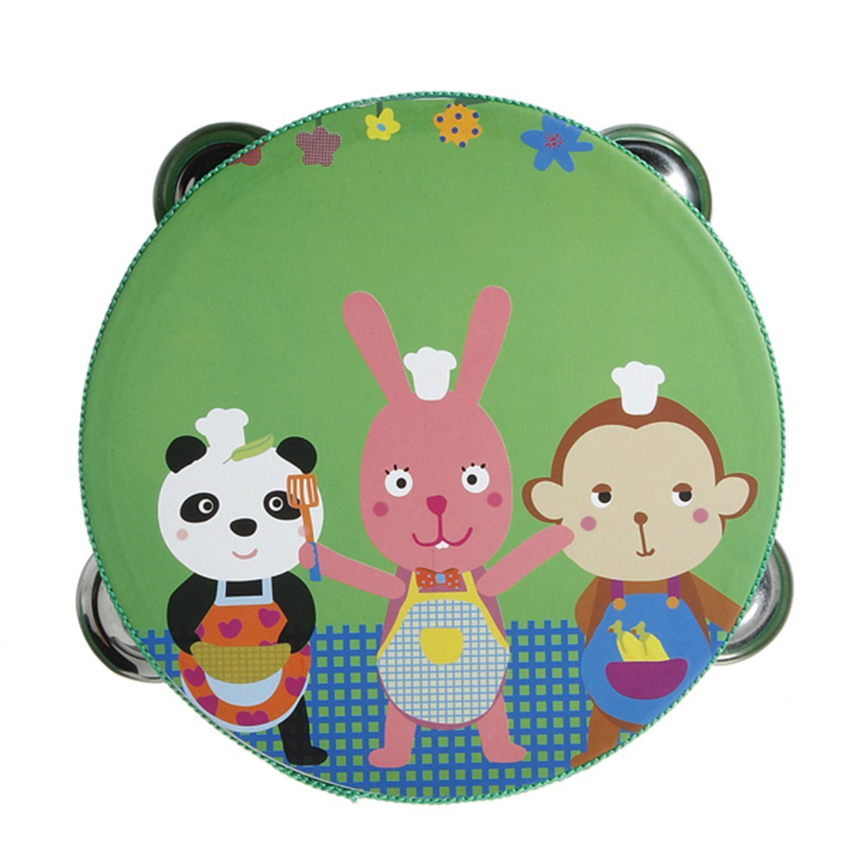 SODIAL(R) Tambourin tambour avec cloche Jingles metal en Motif bande dessinee coloree Percussion en bois jouet musical pour 050301