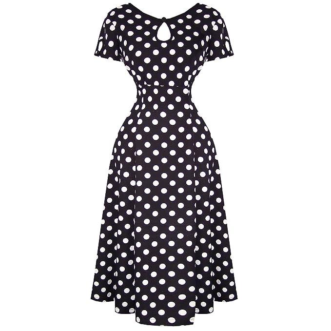 Banned - Vestido - para mujer Negro blanco y negro 48 XXXL