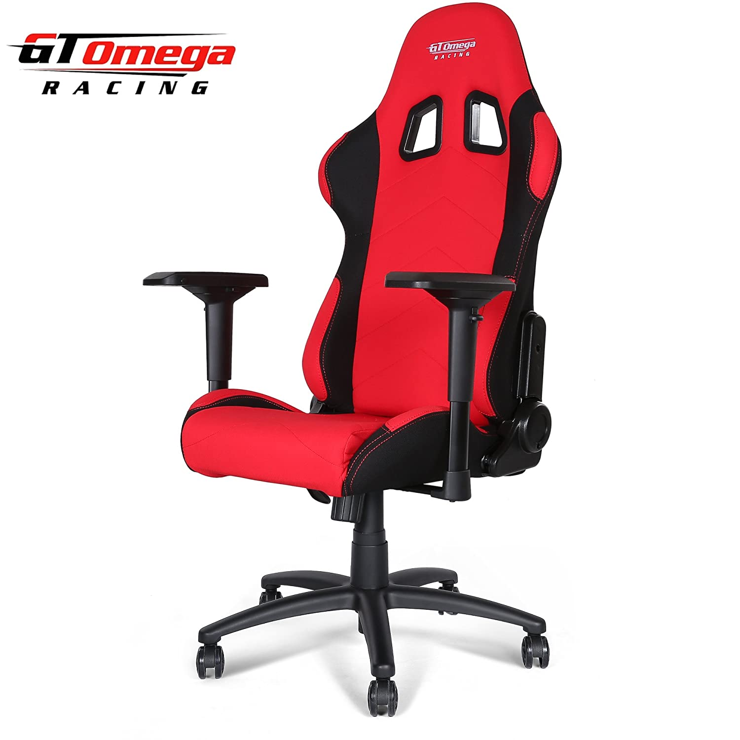 GT OMEGA PRO RACING OFFICE CHAIR RED AND BLACK FABRIC Amazon