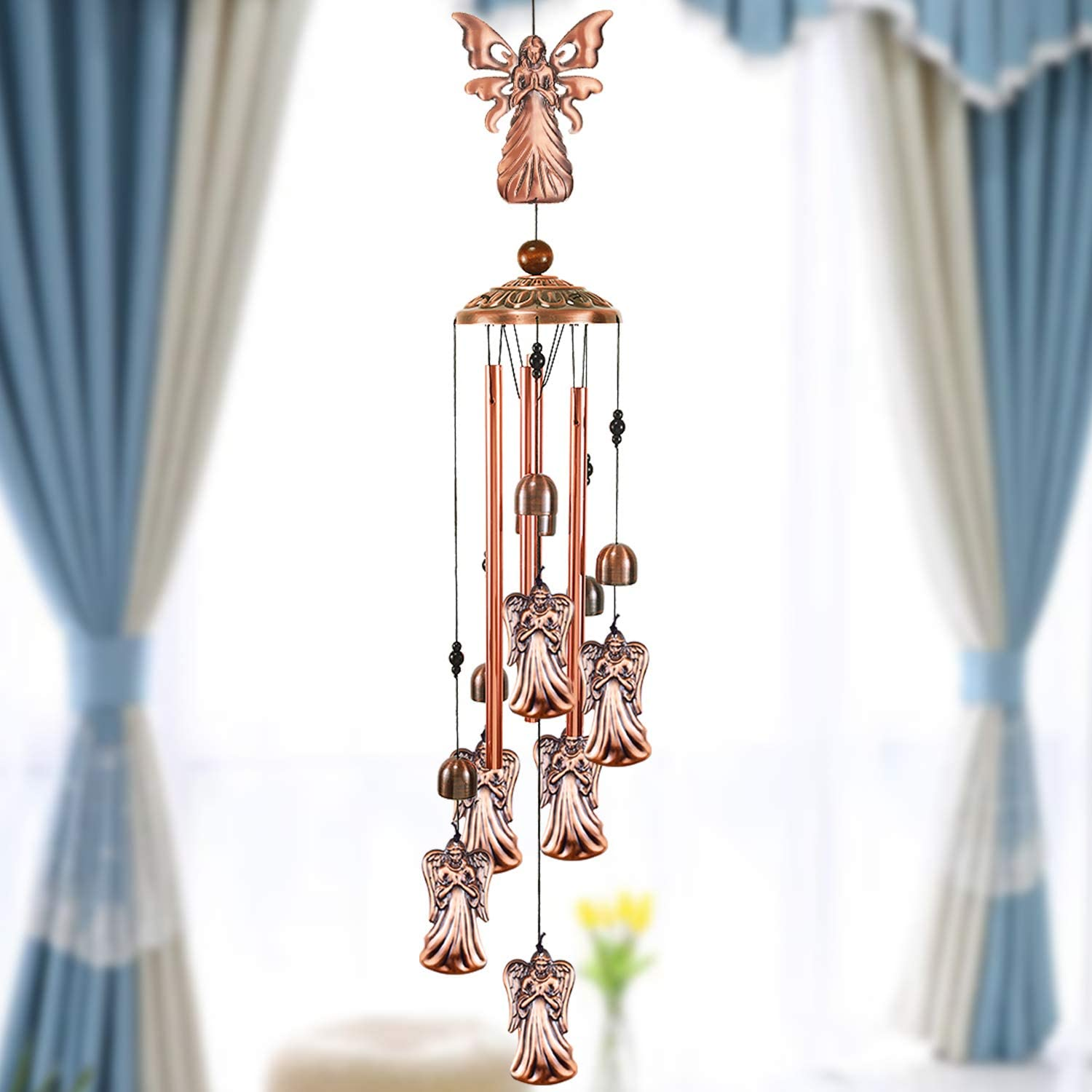 YMXBL Wind Chime Outdoor Angel Wind Chimes Decoration, Angel Wind Bell Indoor Decor, Angels Windchime With 4 Tubes & 6 Bells, Angel Wind Catcher, Aluminum Chime, Garden Mobile Wind Chime Gifts for Mom