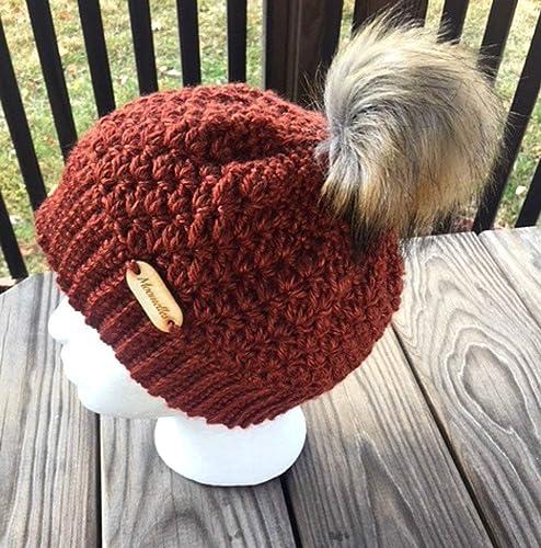 Amazon.com  Crochet Faux Fur Pom Pom Beanie Chili Copper Hat Bronze Wood  Button Handmade  Handmade 46559d428bf0
